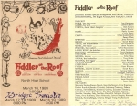 Fiddler on the Roof Program - March 16 - 19, 1989